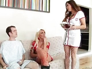 Handsome shemale nurses have anal threesome with a lucky guy