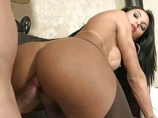 Charming shemale rapes his throat with her huge erect cock