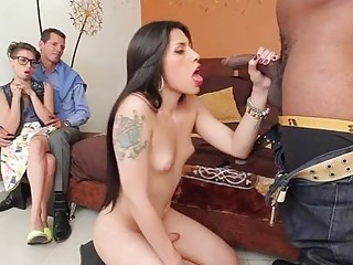 Cuck watches babe smashed by shemale and hung black thug