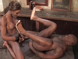 Ravishing skinny black shemale fucks her partner like shes gone mad
