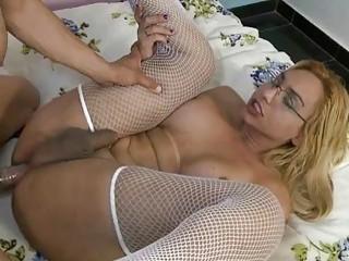 Bubble butt Tgirl in stockings craves for wild butt smashing