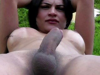 Kinky tranny Suzy Pavanello strokes her hard pole outdoors solo