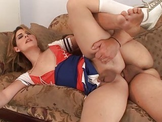 Shemale cheerleader enjoys a hard cock before he fucks her