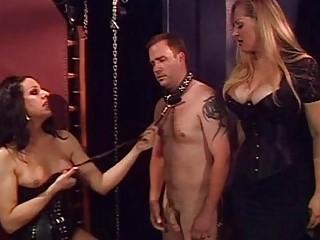 Blonde tranny dominates her slave and fucks him