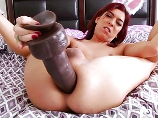 Sexy shemale plunges a gigantic dildo into her asshole