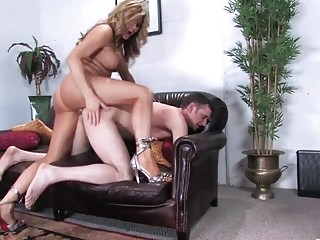 Shemale MILF, rough couch anal sex at work