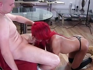 Redhead shemale makes him suck her dick before the fucking