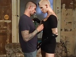 Horny construction worker gets barebacked by a dominant blonde shemlae