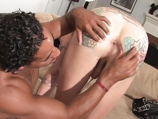 Hung stud picks up and fucks hard mature inked shemale