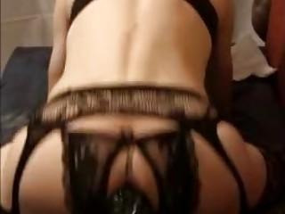 Hot tranny in lingerie rides a big dildo